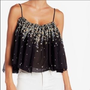 Intimately Free People Black Floral Tank Blouse